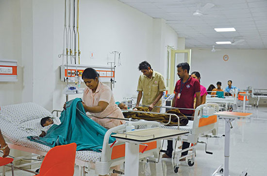 Round-the-clock medical attention in the wards